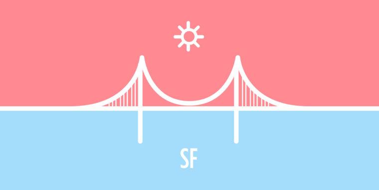 Pink and blue illustration of Golden Gate bridge