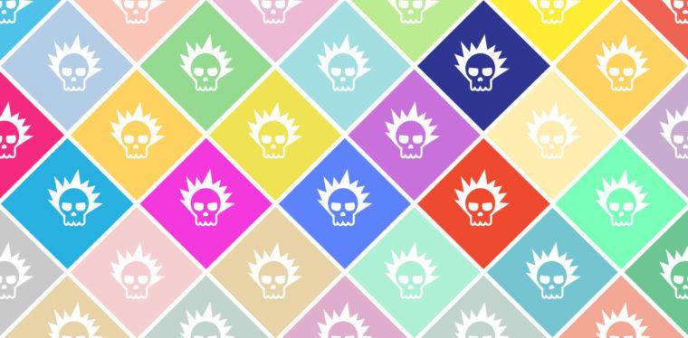 icon-styled grid of skulls