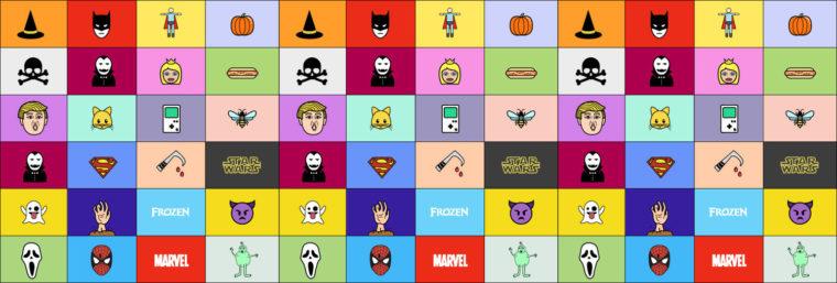 colorful grid of Halloween masks like Trump, batman, princesses, superman