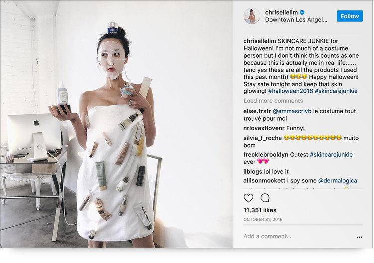 Instagram post from @chrisellelim as a DIY skincare junkie