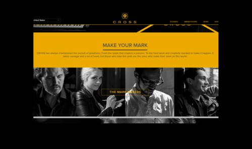 screenshot of home page of Cross Pens website