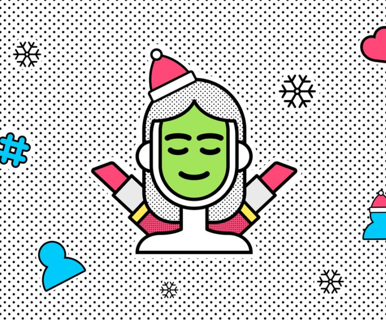 Christmas themed line illustration