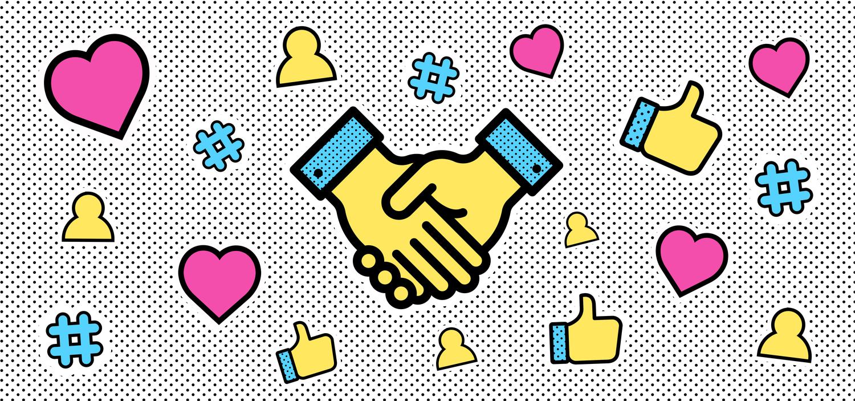 Hand-shake icon illustration