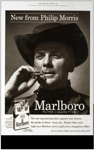Black and white Marlboro man cigarette ad