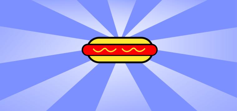 full color line illustration of a hotdog in bun