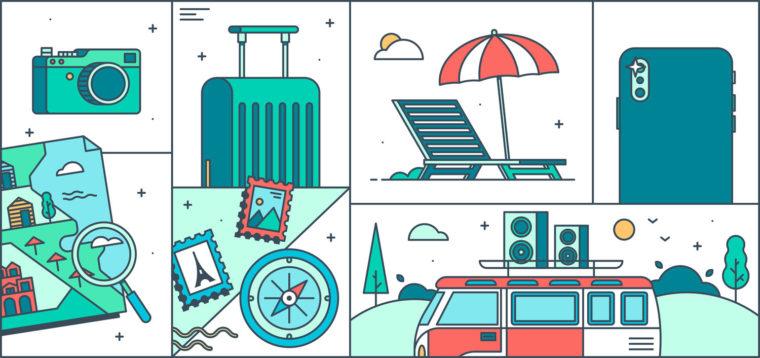 summer themed line illustration