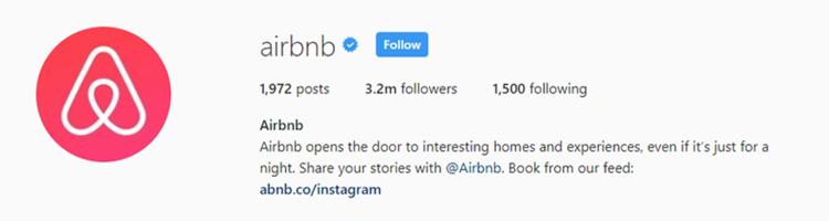 screenshot of Instagram profile header for Airbnb