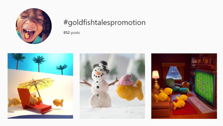 screenshot of Instagram hashtag archives for #goldfishtalespromotions