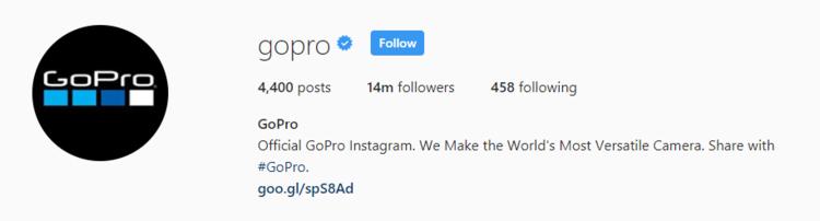 screenshot of Instagram profile header for GoPro