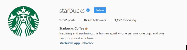 screenshot of Instagram profile header for starbucks