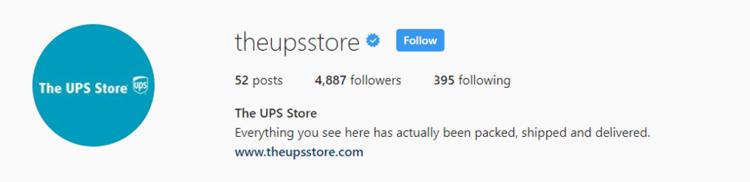 screenshot of Instagram profile header for UPS