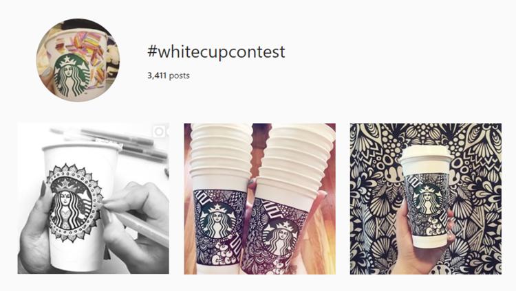 screenshot of Instagram hashtag archives for #whitecupcontest