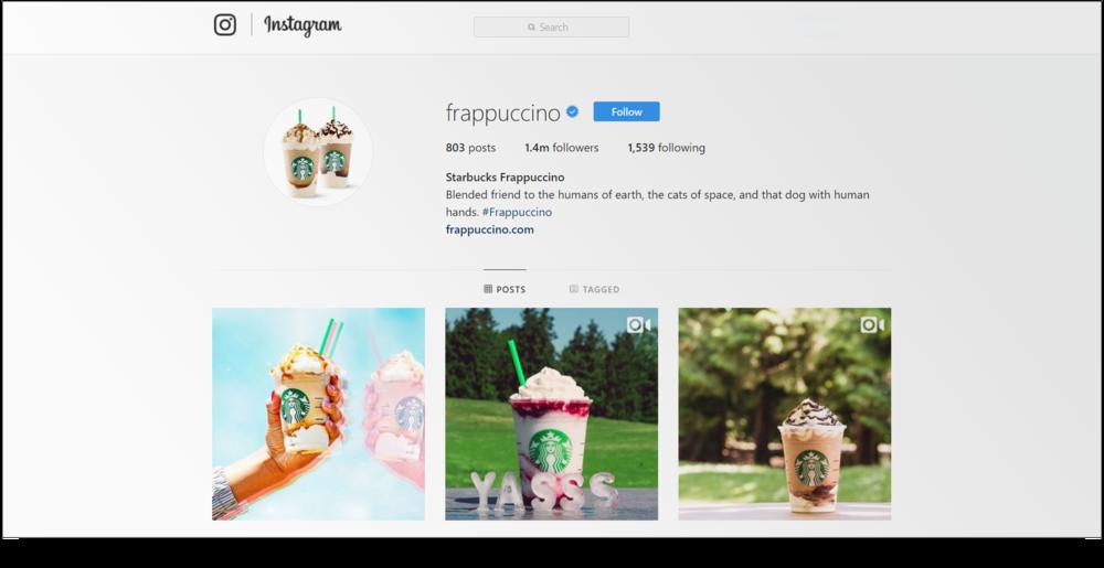 screenshot of Starbucks frappuccino profile page