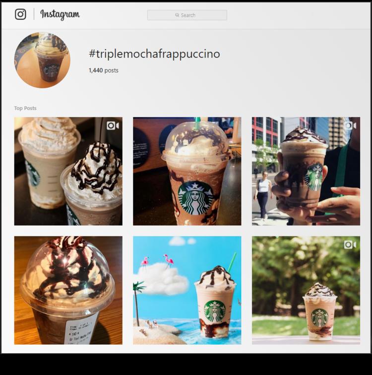 screenshot of Starbucks #triplemochafrappuccino hashtag archive page on Instagram