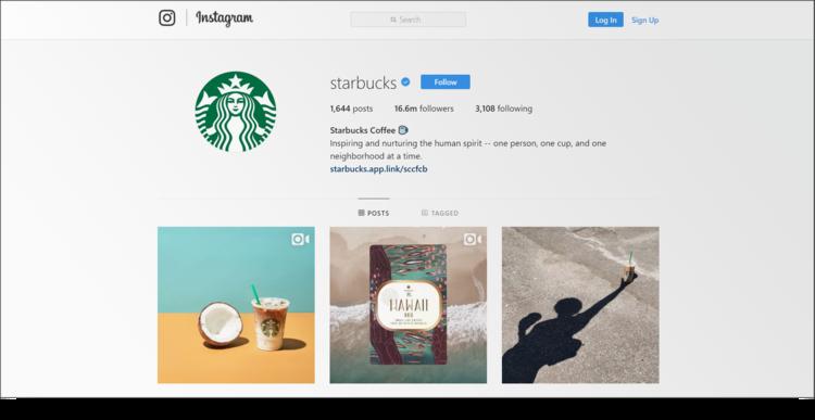 screenshot of Starbucks Instagram profile