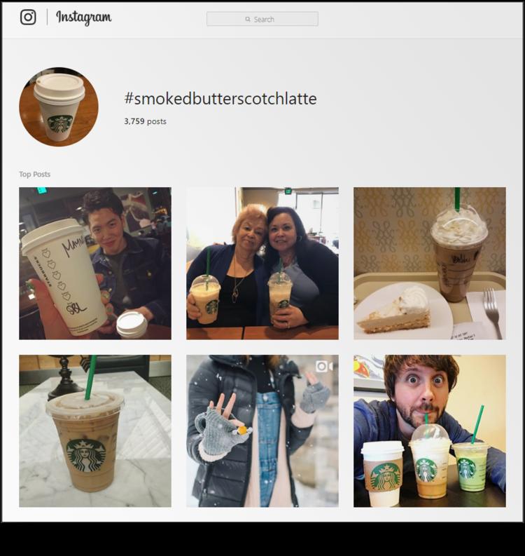 screenshot of Starbucks #smokedbutterscotchlatte hashtag archive page on Instagram
