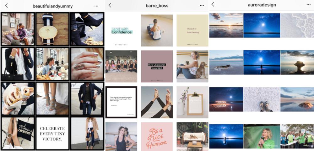 Screenshot of posts from @beautifulandyummy, @barre_bosse and @auroradesign on Instagram.