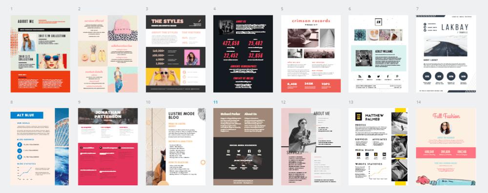 A screenshot of few media kit templates from Canva.