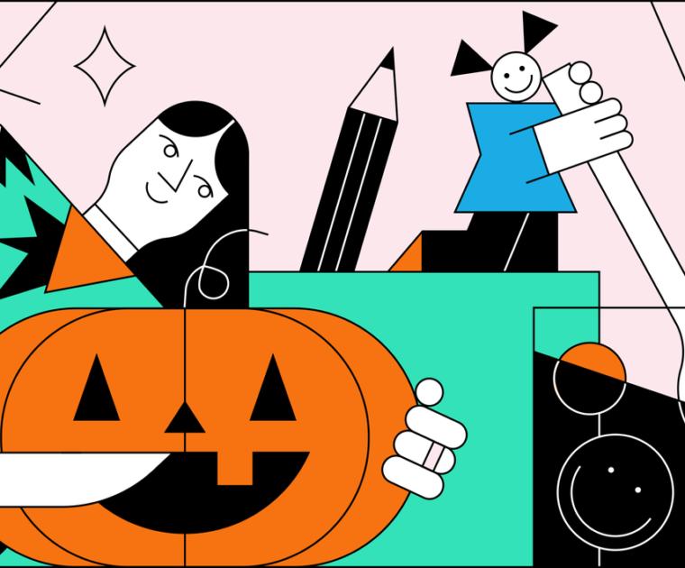 A Colourful line representation of a woman holding a halloween pumpkin.