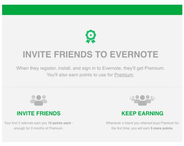 Screenshot of EverNote Referral Screen.