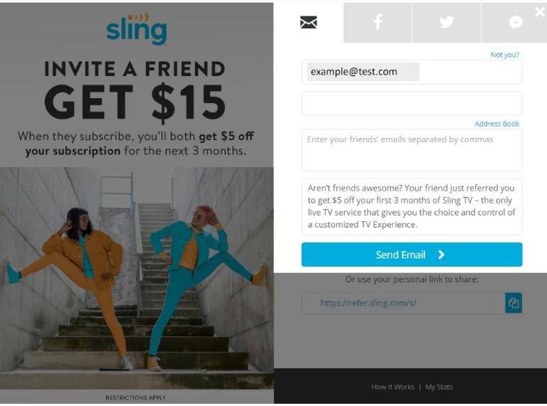 Screenshot of SlingTV Referral Screen.