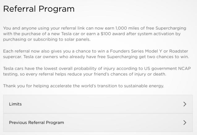 Screenshot of Tesla Referral Screen.