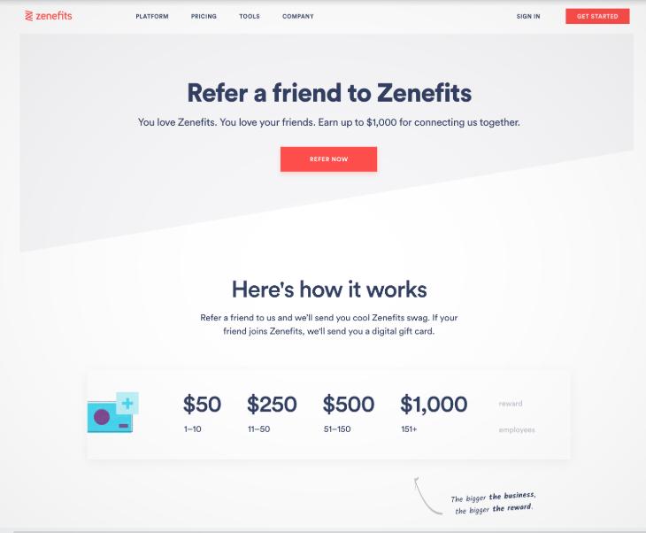 Screenshot of Zenefits Referral Screen.