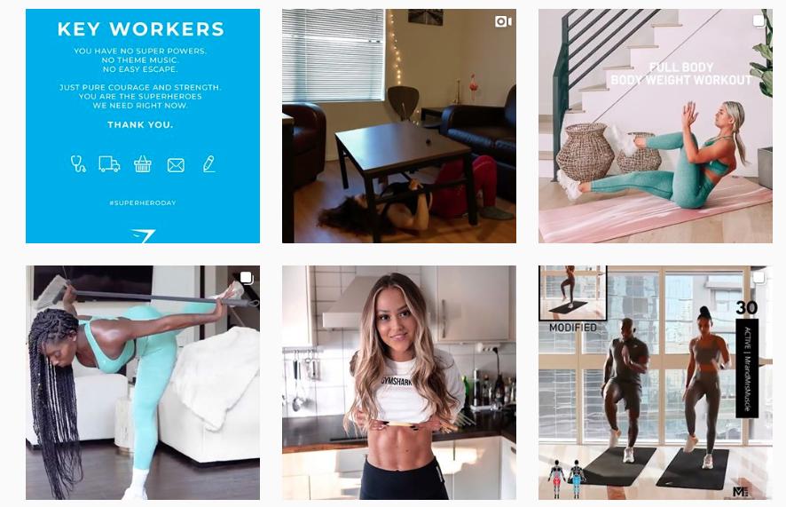 Instagram screenshot of GymShark's Instagram Feed full of UGC