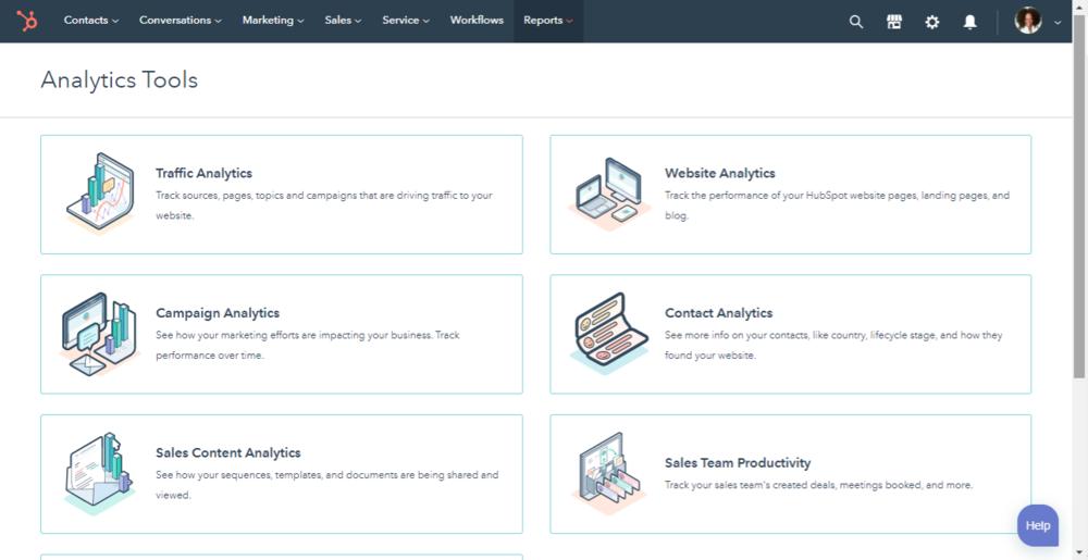 Screenshot of Hubspot