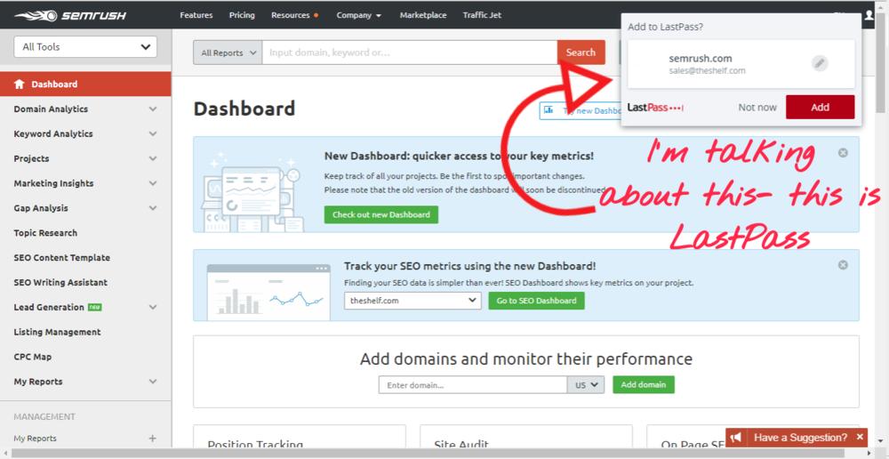 Screenshot of LastPass