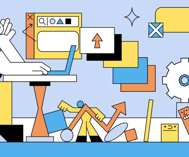blue and orange line illustration of man at a desk