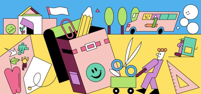 colorful line illustration of school-themed scene - back to school marketing