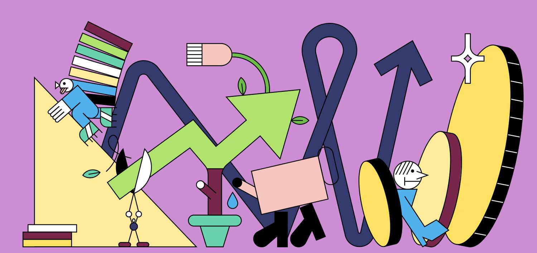 purple line illustration of influencer ecommerce business