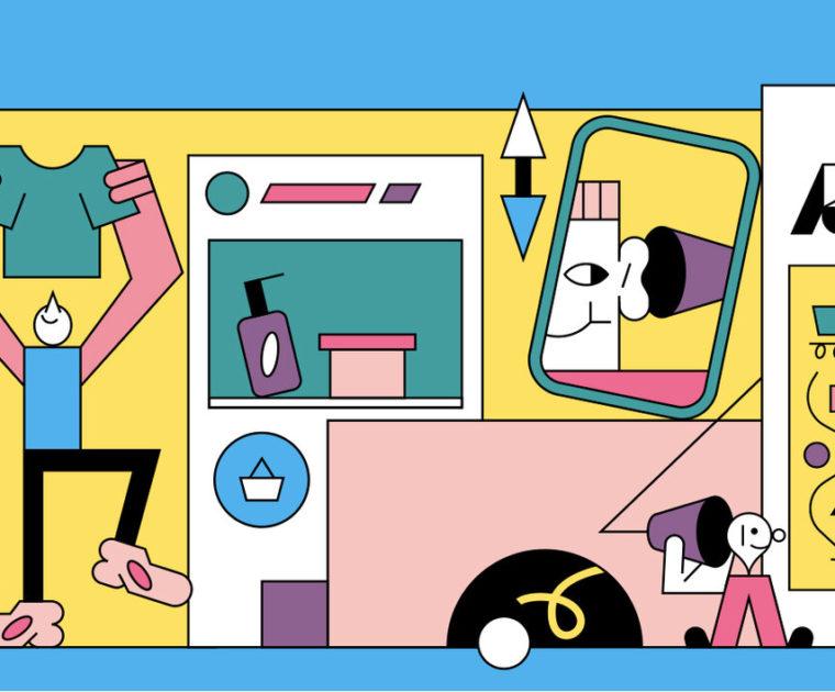 colorful line illustration of ecommerce-themed scene