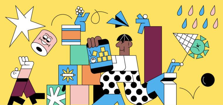 colorful line illustration mobile themed tiktok trends