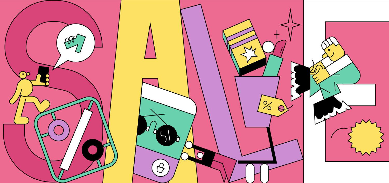 colorful line illustration retail focused - promote your big sale