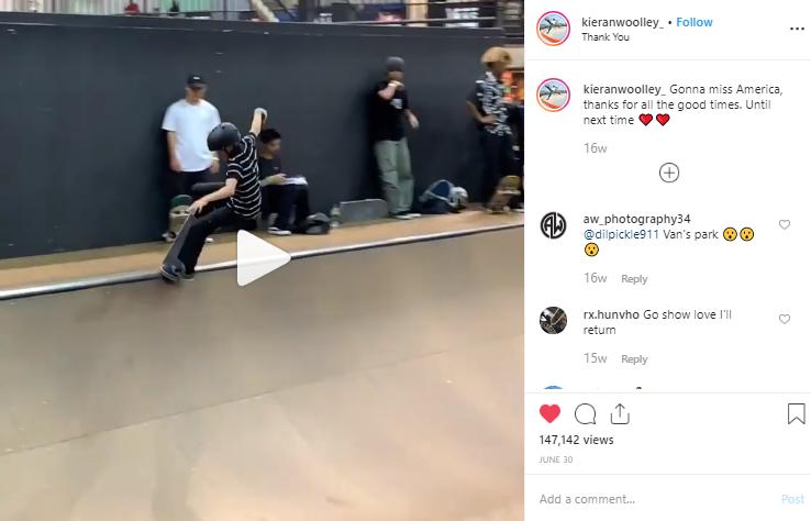 Screenshot of a video post from kieranwoolley_ on Instagram.