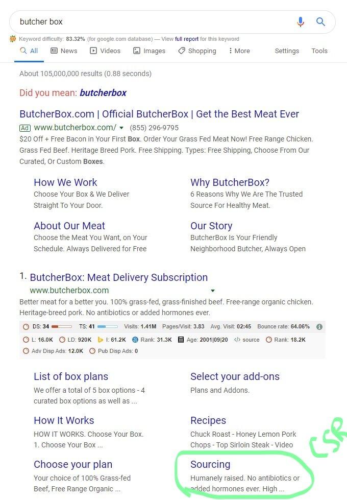A screenshot of google search on butcherbox.