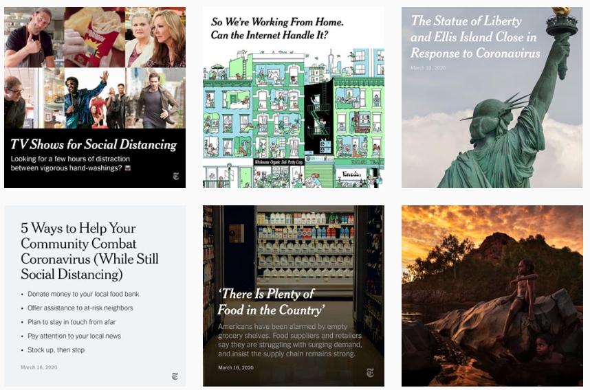 screengrab of @nytimes Instagram grid