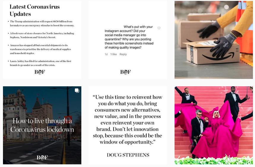 screengrab of @bof Instagram grid