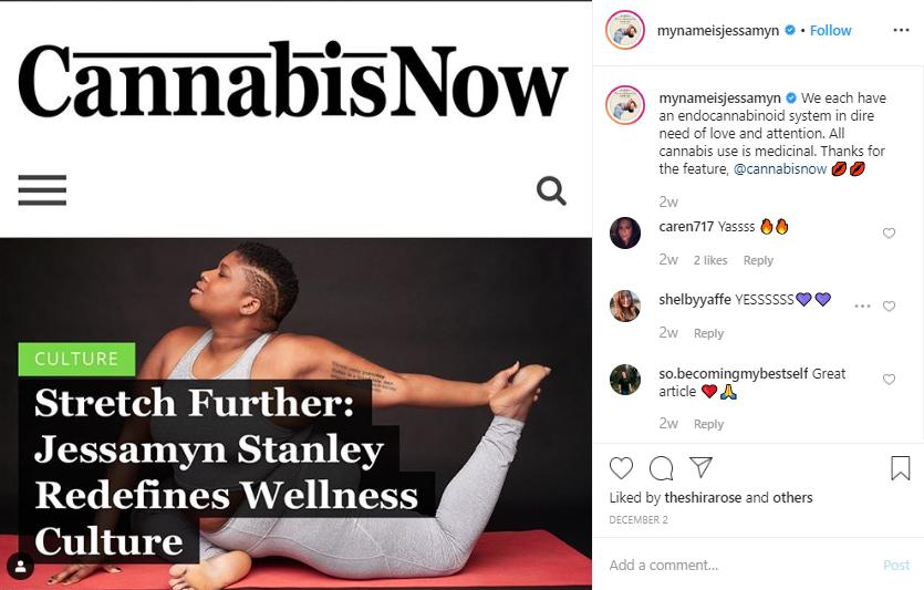 A screenshot of post on Instagram by 'mynameisjessamyn' on a Cannabis Now article.
