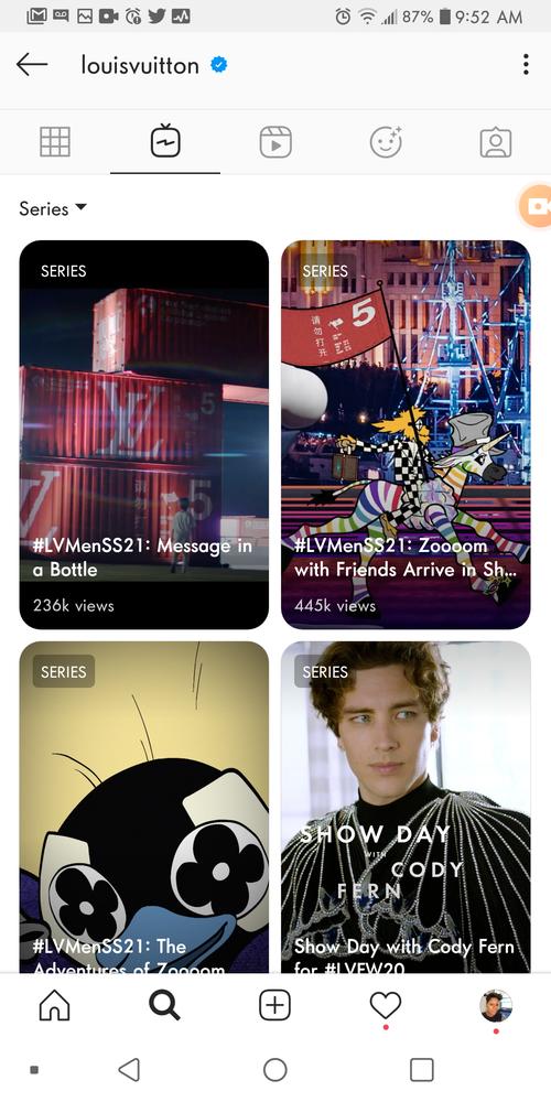 screenshot of Louis Vuitton's IGTV content