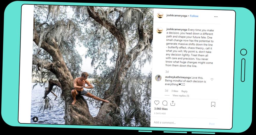 A screenshot of a post by joshkrameryoga on instagram.