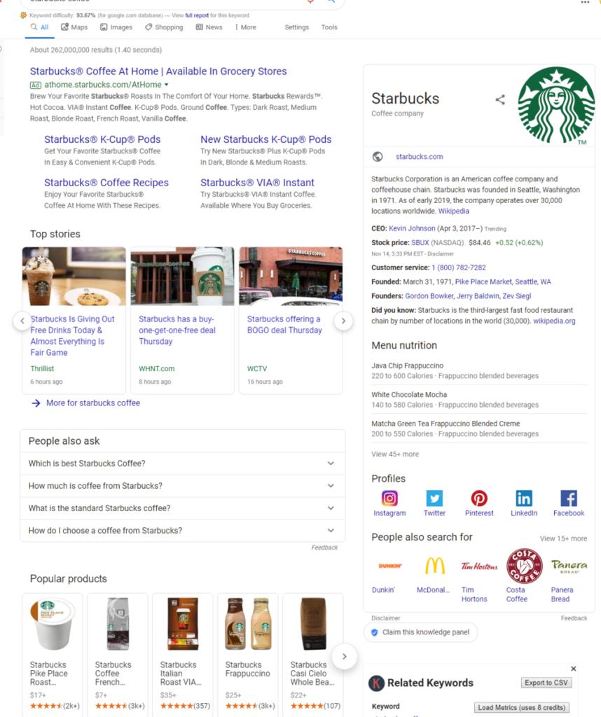 A screenshot of a google search on Starbucks.
