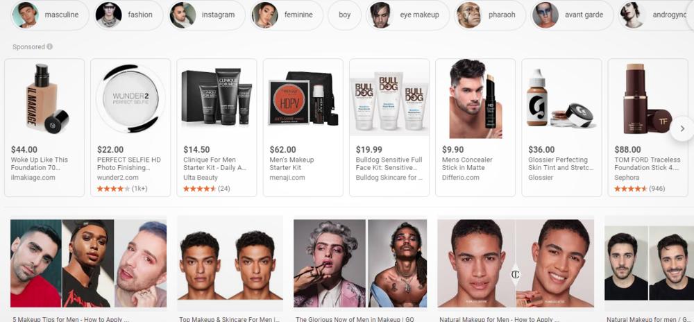 Screenshot of A Google Search of makeup for men