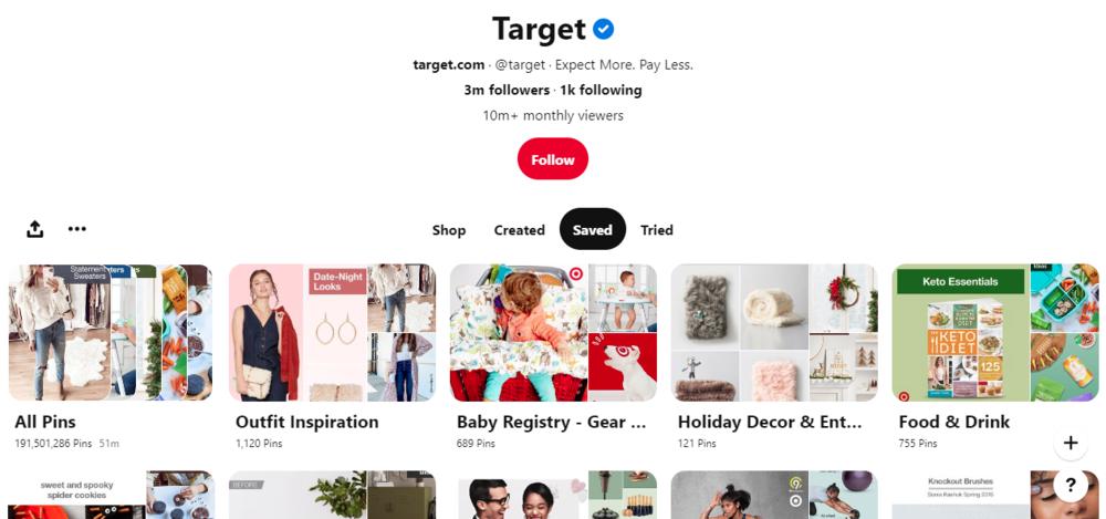 screenshot of Target's Pinterest boards - pinterest marketing