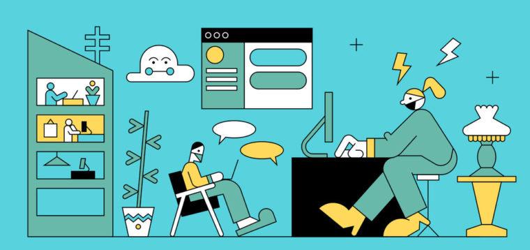 line illustration of people wearing masks and working at desks