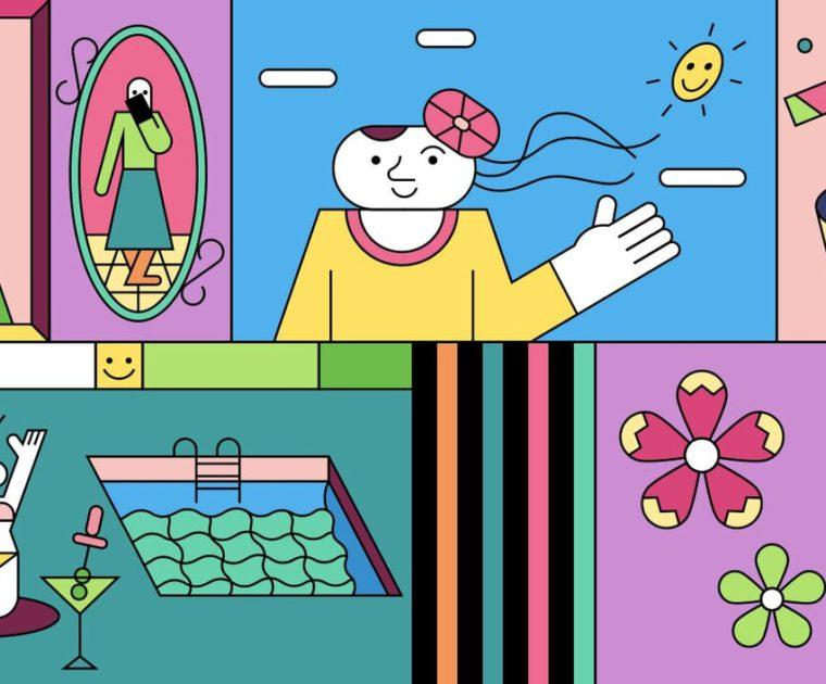 colorfl line illustration of mature influencers