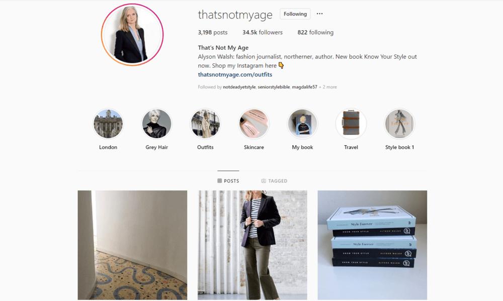 Instagram profile of mature blogger @thatsnotmyage