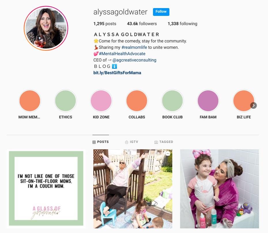screenshot of the Instagram profile of @alyssagoldwater